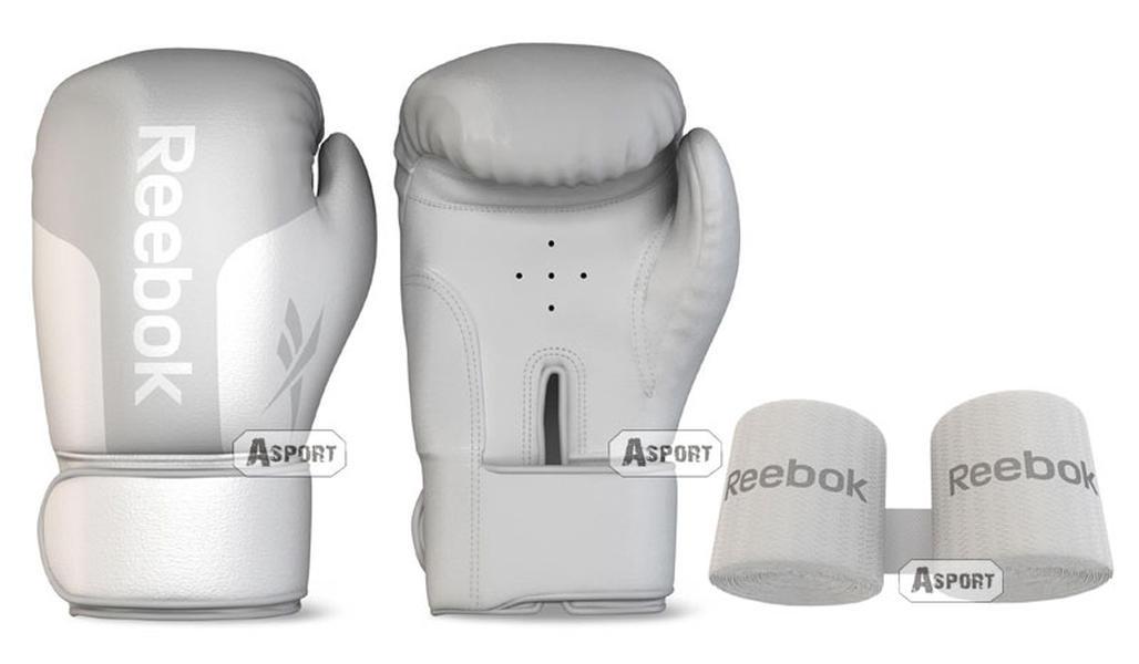 Rękawice bokserskie 10 oz + bandaże białe Reebok Home